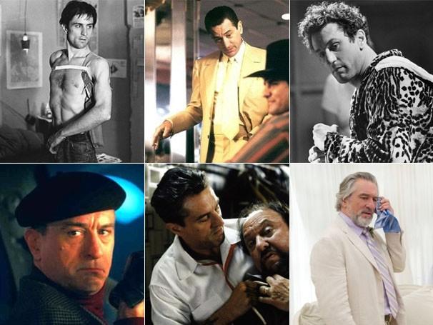 Robert De Niro em : 'Taxi Driver' (1976), 'Cassino' (1995), 'Touro Indomável' (1980), 'Entrando Numa Fria' (2000), 'Os Bons Companheiros' (1990) e 'O Casamento do Ano' (20013) (Foto: Divulgação/Reprodução)