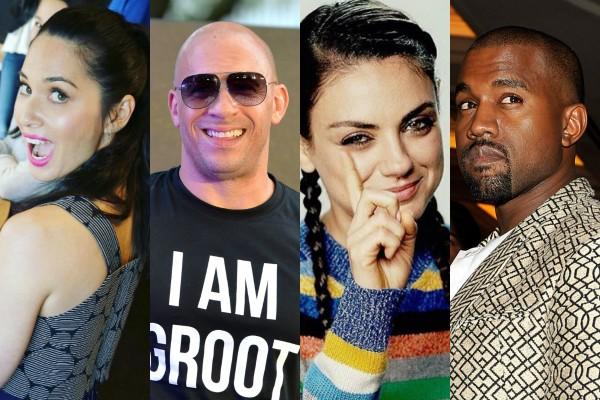 Olivia Munn, Vin Diesel, Mila Kunis e Kanye West (Foto: Getty Images/Reprodução Instagram)