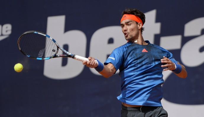 Fabio Fognini x Rafael Nadal na final do ATP de Hamburgo (Foto: AFP)