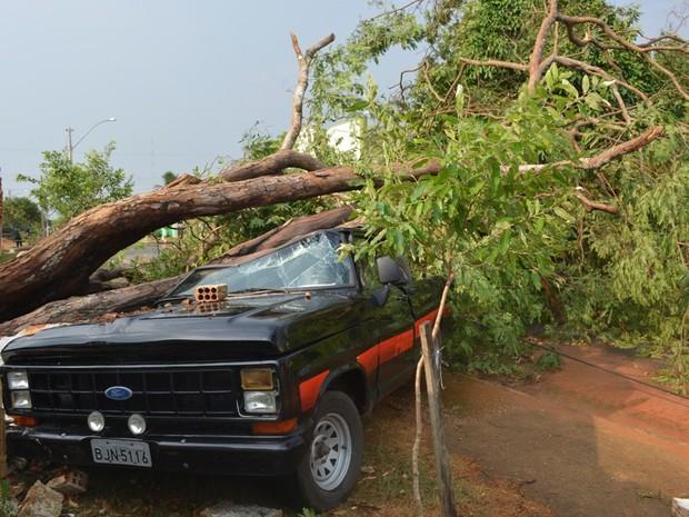 Motorista não estava dentro da caminhonete no momento do temporal (Foto: Jonatas Boni/ G1)