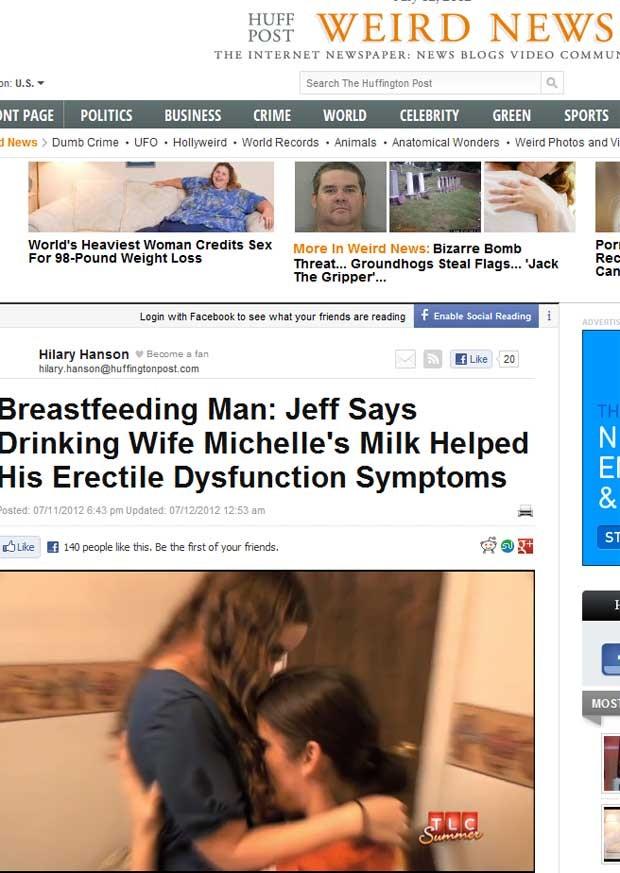 O americano Jeff se alimenta de leite materno produzido por sua esposa, em vídeo que é parte do documentário 'Strange Sex'. (Foto: Reprodução)