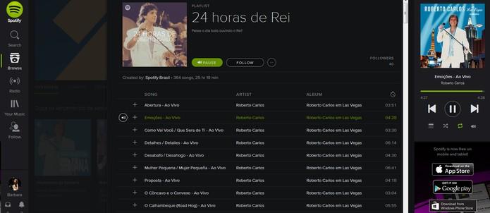 Playlist especial 24 horas de Rei no Spotify (Foto: Reprodução/Barbara Mannara)