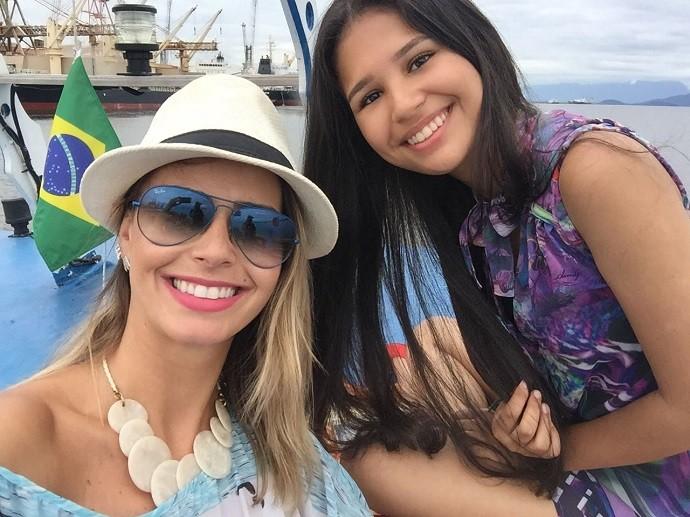 Dai e Ystefani em um 'rolê' por Paranaguá (Foto: Divulgação/RPC)