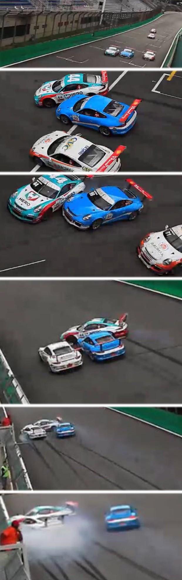 Acidente entre Vario e Tom Valle na reta dos boxes (Foto: Divulgação)