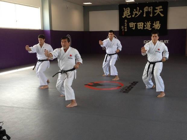 Yoshizo Machida, Chinzo, Lyoto e Take praticam kata (Foto: Divulgação / Academia Machida)