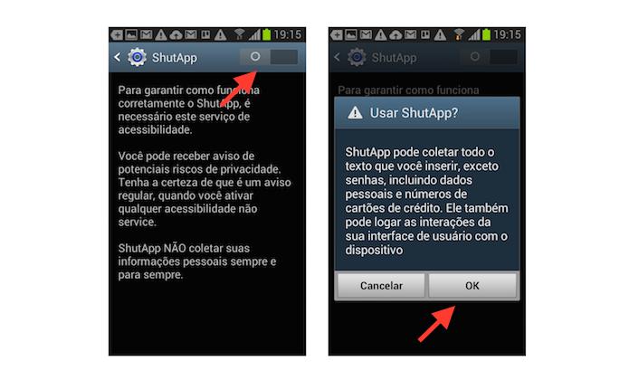 Ligando o acesso do ShutApp nas configurações de acessibilidade e permitindo acesso a dados do usuário (Foto: Reprodução/Marvin Costa)