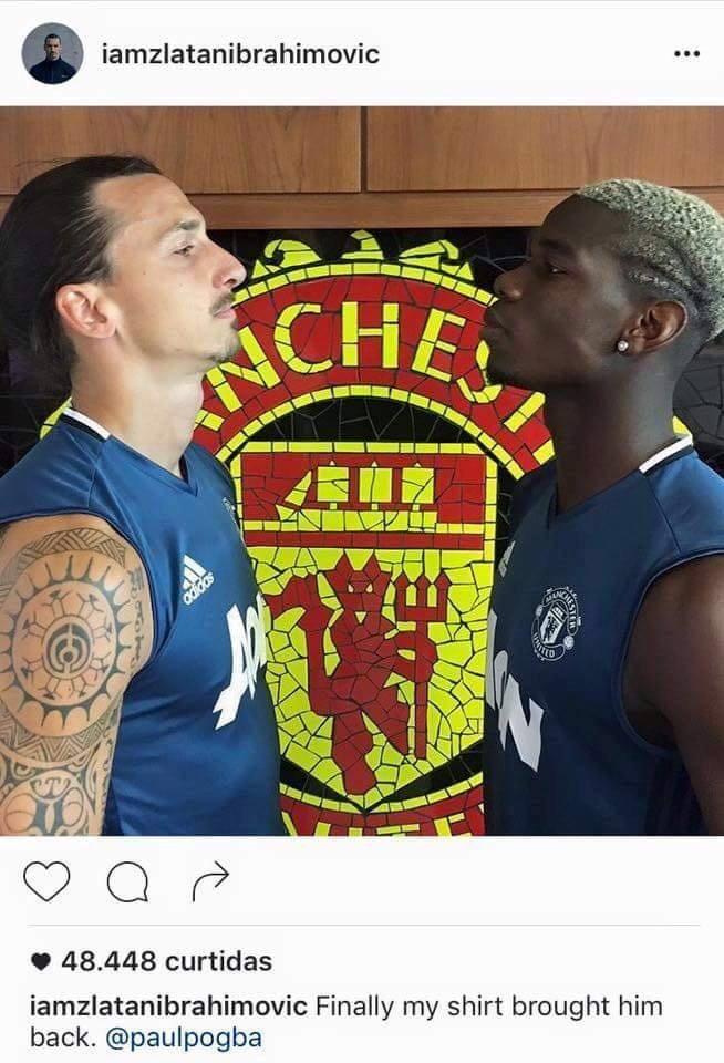 """BLOG: Ibra brinca com Pogba no Instagram: """"Minha camisa o trouxe de volta"""""""