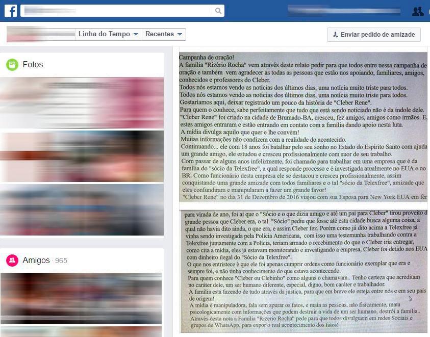 Família divulgou comunicado sobre brasileiro preso nos EUA em rede social (Foto: Reprodução / Facebook)