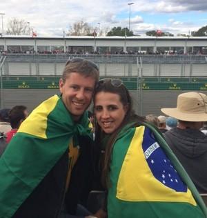 Curitibanos, André e Patrícia assistiram ao GP da Austrália de Fórmula 1 (Foto: Felipe Siqueira)