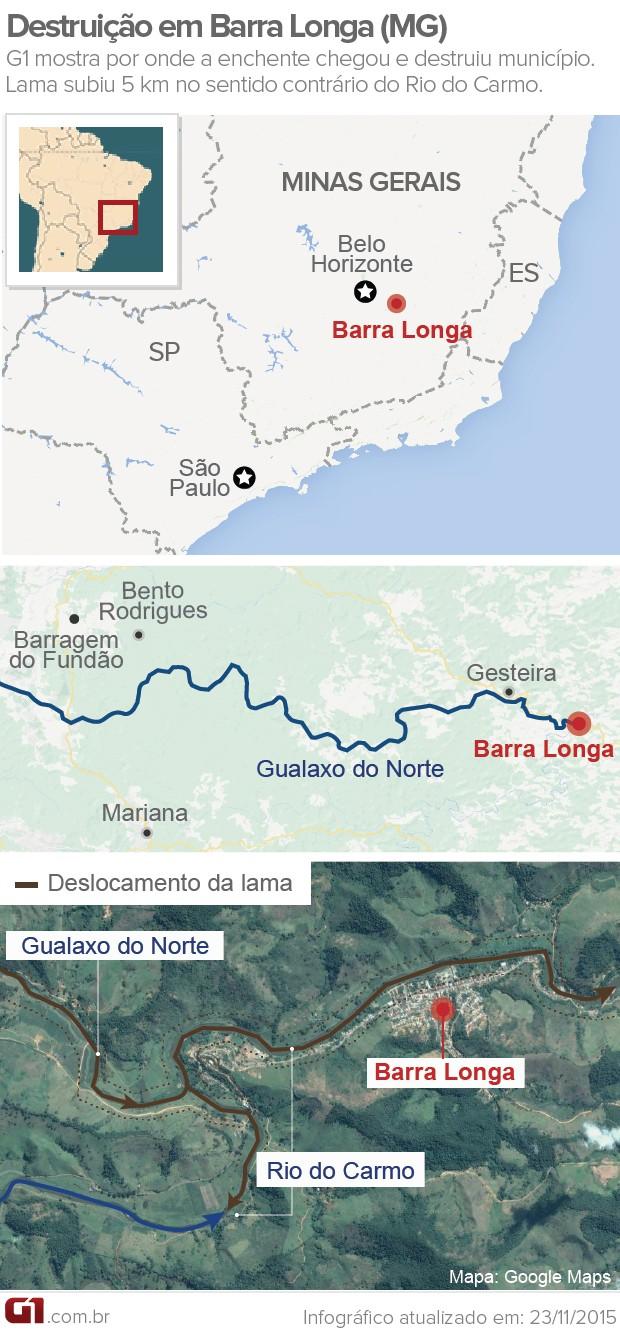 Mapa - destruição em Barra Longa - versão 2 (Foto: Arte/G1)