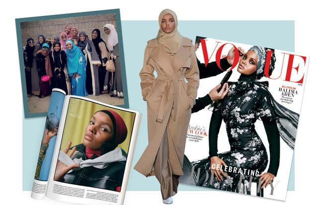 Da esquerda para a direita: Halima celebrando o dia da independência da Somália; em editorial da Glamour americana deste mês; no desfile de inverno 2017/18 da Max Mara; e na capa Vogue Arábia de junho (Foto: Divulgação)