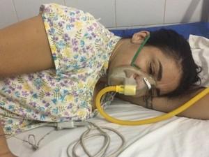 Maria José foi levada a hospital com dificuldades para respirar e não resistiu (Foto: Reprodução/TV Anhanguera)