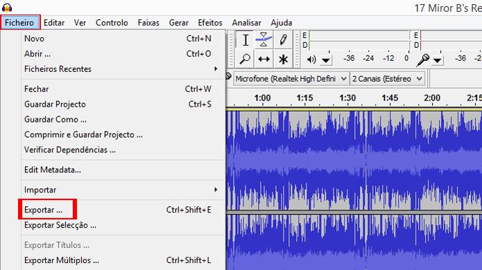 Atalho de teclado pode agilizar exportação de vários arquivos (Foto: Reprodução/Audacity)