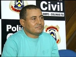 Ele confessou o crime e foi preso em Colinas do Tocantins (Foto: Reprodução/TV Anhanguera)
