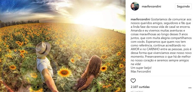 Max Fercondini e Amanda Richter anunciam separação (Foto: Reprodução/Instagram)