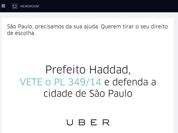 Blog do Uber pede ajuda de usuários em São Paulo (Foto: Reprodução/Newsroom)