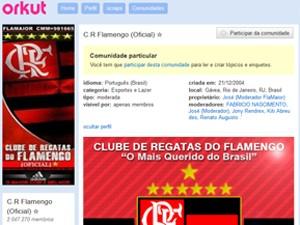 Flamengo tem a maior comunidade de torcida do Brasil no Orkut, com 2 milhões de fãs (Foto: Reprodução / Orkut)