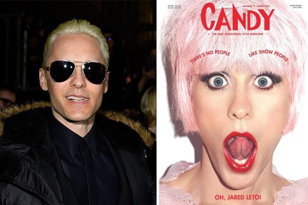 Além de ter interpretado a personagem Rayon ('Clube de Compras Dallas'), que lhe rendeu o Oscar de Melhor Ator Coadjuvante em 2014, Jared Leto também usou o batom para ser a capa da revista 'Candy'. (Foto: Getty Images e Divulgação)