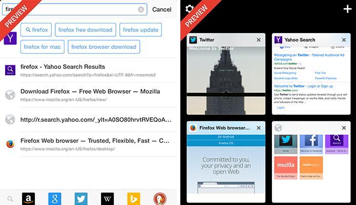 App traz sugestões de buscas e abas em formato de grade (Foto: Divulgação)