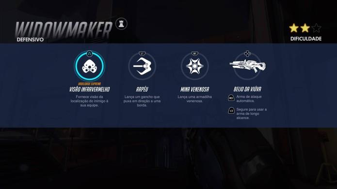 Habilidades de Widowmaker em Overwatch (Foto: Reprodução/Felipe Vinha)