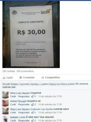 Taxa para turistas em Lagoa da Prata (Foto: Reprodução/Facebook)