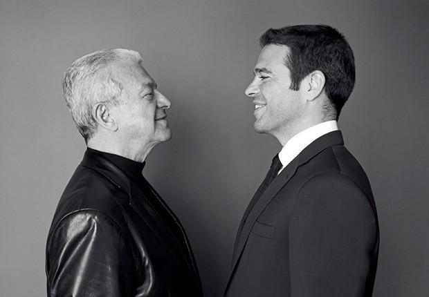 René Caovilla e seu filho Edoardo, atual diretor criativo, em março deste ano (Foto: Toni Thorimberg e Divulgação)