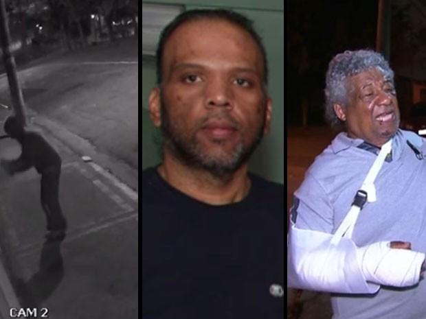 Um dos seis pichadores picha a casa das vítimas: Wellington, morto com uma pedrada, e Manoel, ferido no braço, que depois foi amputado (Foto: Reprodução/TV Globo)