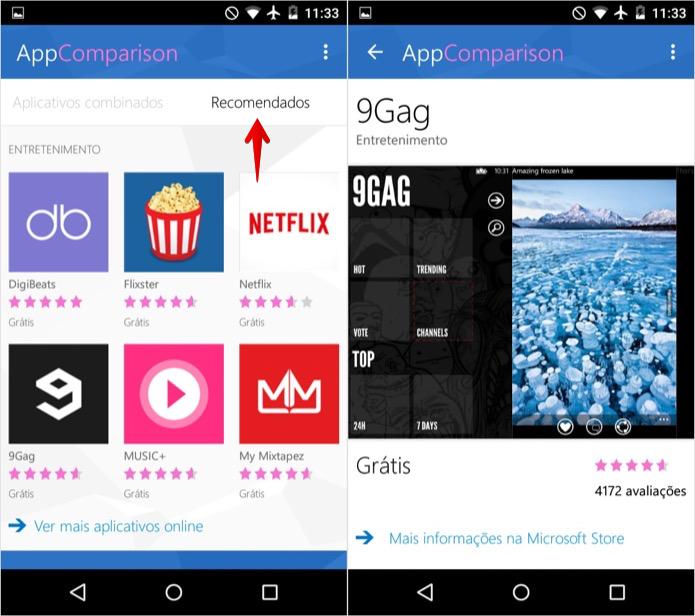 Verificando recomendações de apps para Windows Phone (Foto: Reprodução/Helito Bijora)