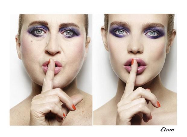 Francesa disse ter usado apenas maquiagem para imitar as campanhas de grifes famosas, nada de Photoshop (Foto: Reprodução / Nathalie Croquet)