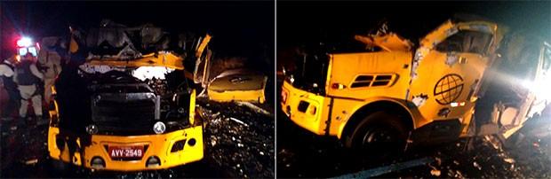Carro-forte ficou completamente destruído com a força da explosão  (Foto: Divulgação/PRF)