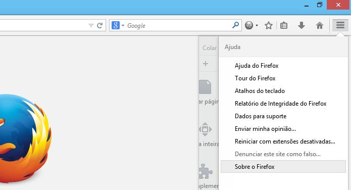 Acesse Sobre o Firefox para atualizar o navegador da Mozilla (Foto: Reprodução/Helito Bijora)