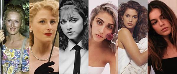 Meryl Streep e Mamie Gummer, Madonna e Lourdes Leon, Cindy Crawford e Kaia Gerber (Foto: Reprodução / Divulgação / Getty Images)