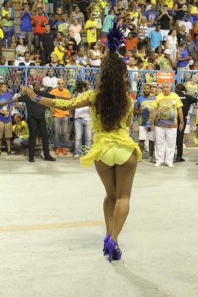 Juliana Alves em ensaio técnico da Unidos da Tijuca na Marquês de Sapucaí, no Centro do Rio (Foto: Anderson Borde/ Ag. News)