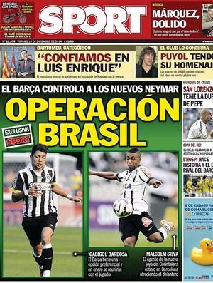 Jornal Sport Gabigol e Malcom (Foto: Reprodução)
