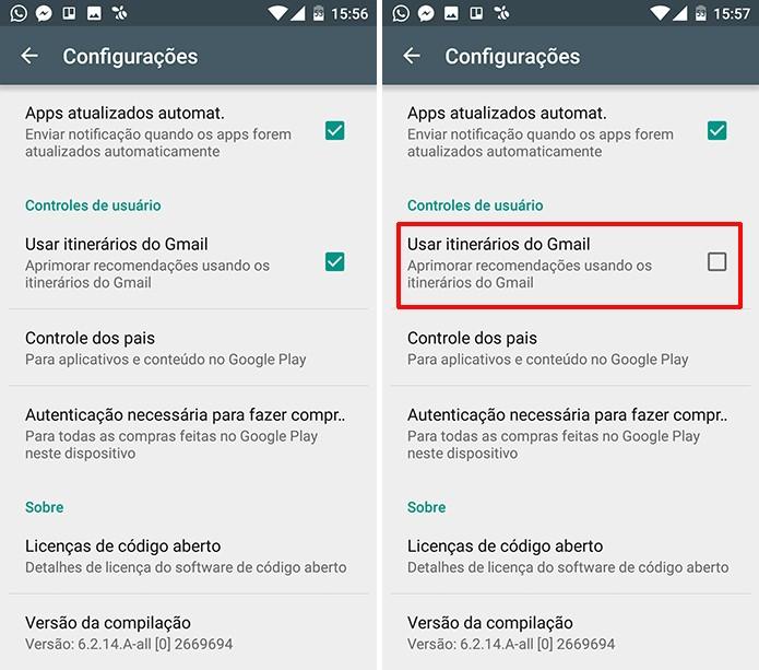 Usuário pode desmarcar caixa para desativar leitura de emails pela Play Store (Foto: Reprodução/Elson de Souza)