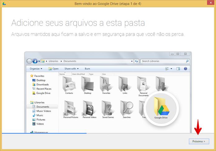 Configuração inicial do Google Drive (Foto: Reprodução/Helito Bijora)