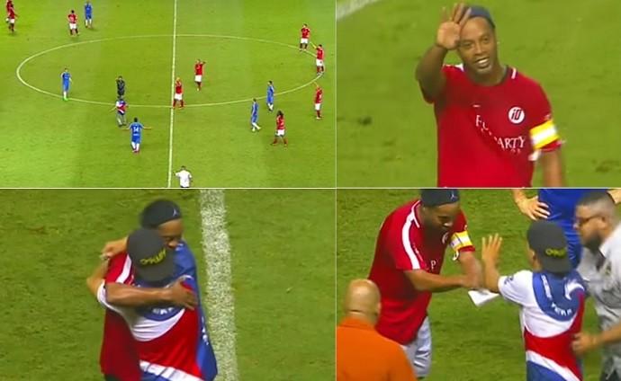 Montagem Ronaldinho Gaúcho atende fã na Costa Rica