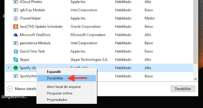Removendo um aplicativo da inicialização do Windows 10 (Foto: Reprodução/Marvin Costa)