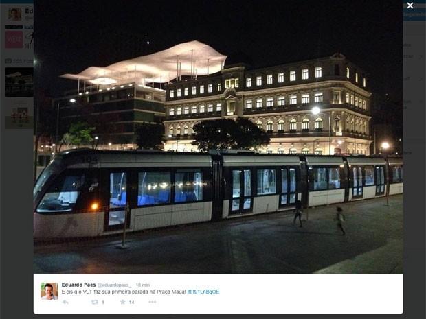 Prefeito publicou foto do VLT no fim da noite desta quinta-feira (15) (Foto: Reprodução / Instagram)