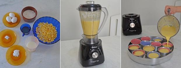 Ingredientes devem ser todos batidos no liquidificador e a mistura levada a forno em forminhas de cupcake (Foto: Krystine Carneiro/G1)