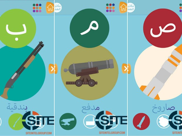 Aplicativo lançado pelo Estado Islâmico associa letras do alfabeto árabe e armas, segundo o grupo SITE Intel (Foto: Reprodução/ Twitter/ Rita Katz)