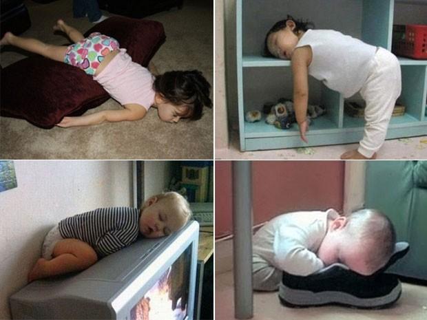 Os sites WeGotKidz.com e thechive.com reúnem fotos que mostram crianças dormindo em posições curiosas. Em uma das imagens, um menino foi fotografado pelos pais tirando uma soneca em cima de uma TV. Em outra, um bebê aparece dormindo com o rosto dentro de um calçado. (Foto: Reprodução)