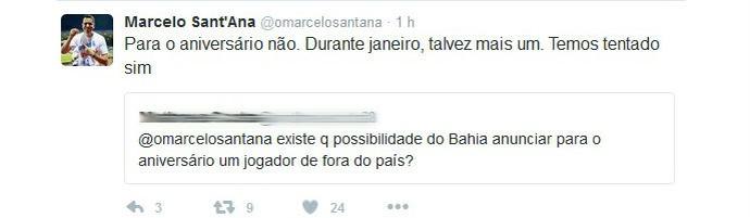 Sant'Ana fala de atleta de fora do país (Foto: Reprodução / Twitter)