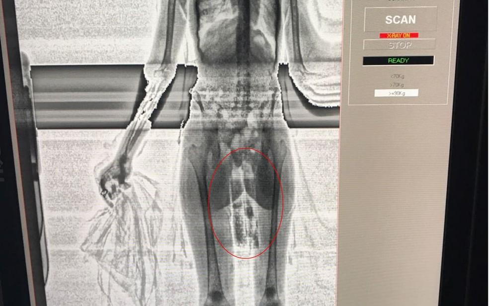 Jovem de 22 anos tenta entrar na Penitenciára Odenir Guimarães com driga entre as pernas (Foto: Reprodução)