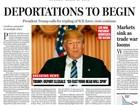 Jornal coloca Trump como presidente dos EUA em falsa primeira página