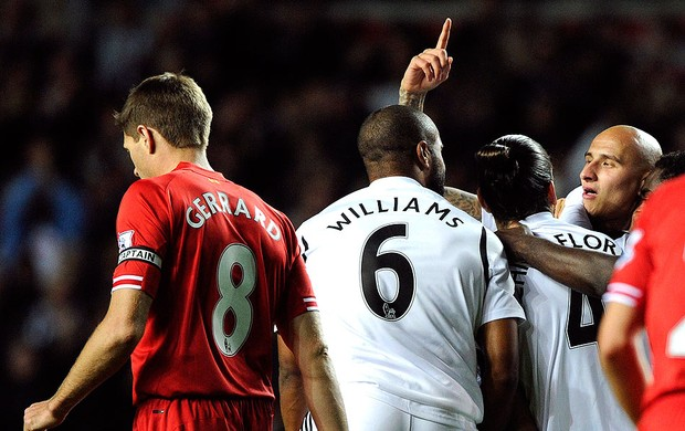 gol Swansea City jogo Liverpool (Foto: Reuters)