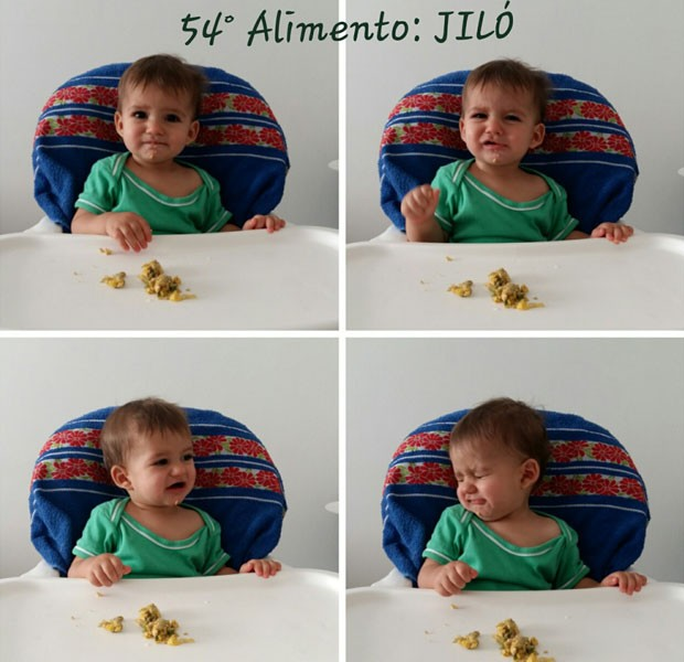 O bebê Bernardo, que desde os seis meses vem sido apresentado a alimentos saudáveis pela família em Brasília, experimentando jiló (Foto: Marília Borges/Arquivo Pessoal)