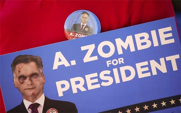 Cartaz informativo de A. Zombie (Foto: Reuters)
