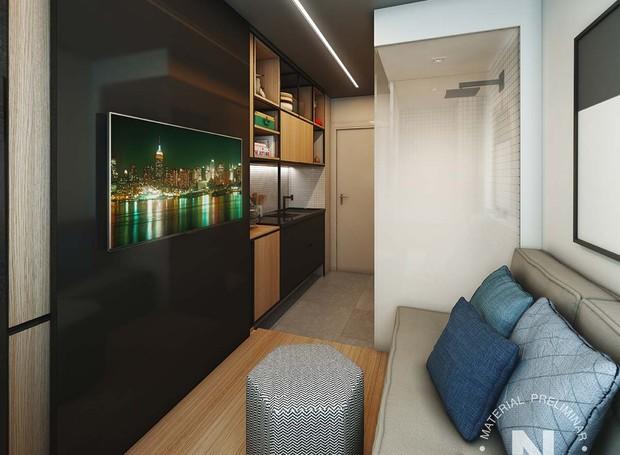 Perspectiva do studio de 10 m² (Foto: Divulgação)