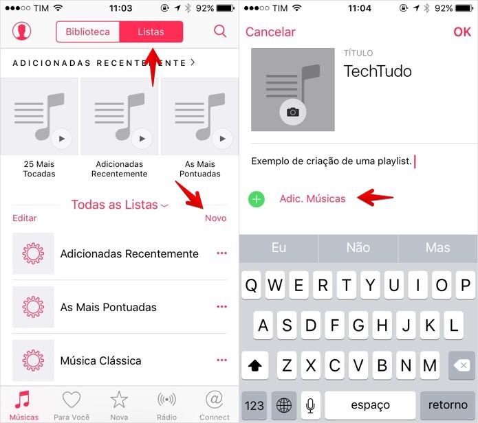Criando uma playlist no iOS (Foto: Reprodução/Helito Bijora)